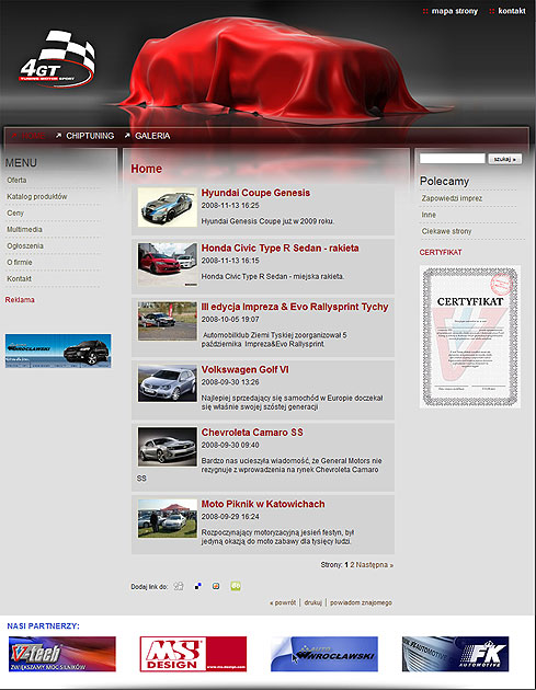 strona www 4GT - Adobe Photoshop, html