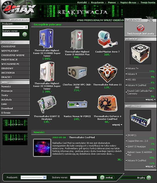strona www 4MAX - Adobe Photoshop, html