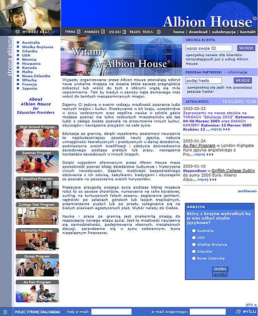 strona www szkoły językowej Albion House - Adobe Photoshop, php