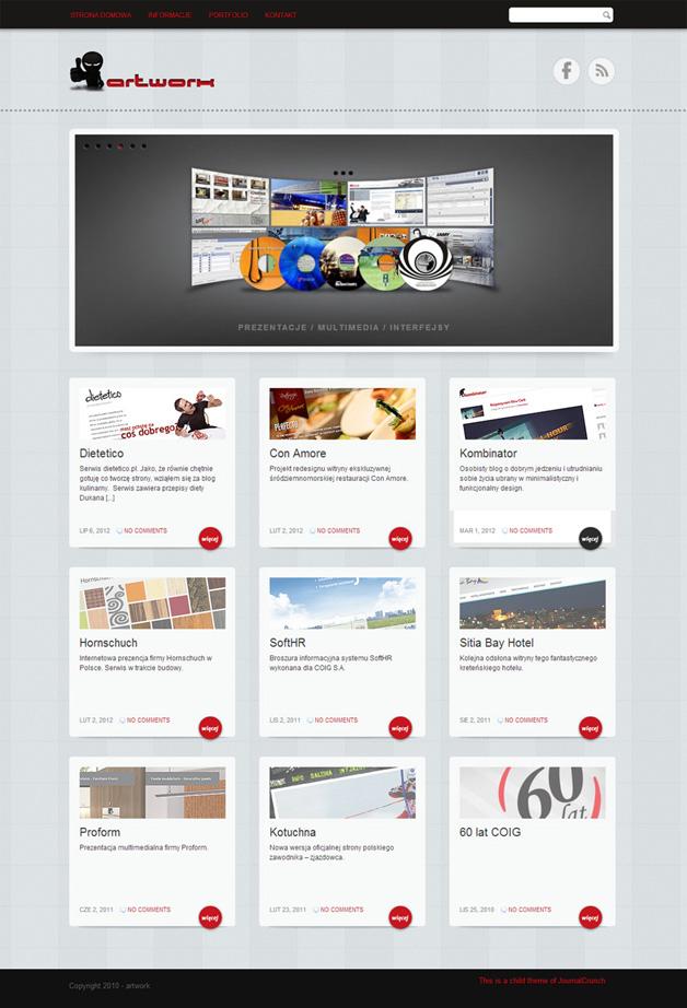 strona www artwork - Adobe Photoshop, WordPress