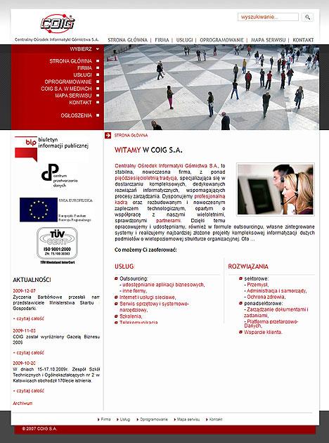 strona www COIG S.A. - Adobe Photoshop, php