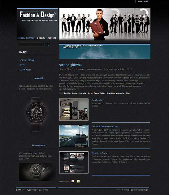 strona www Fashion & Design - Adobe Photoshop, Quick CMS