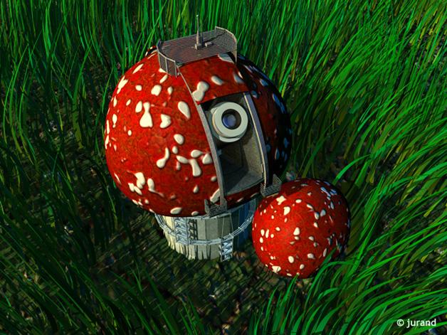 obserwatorium w trawie - Cinema 4D