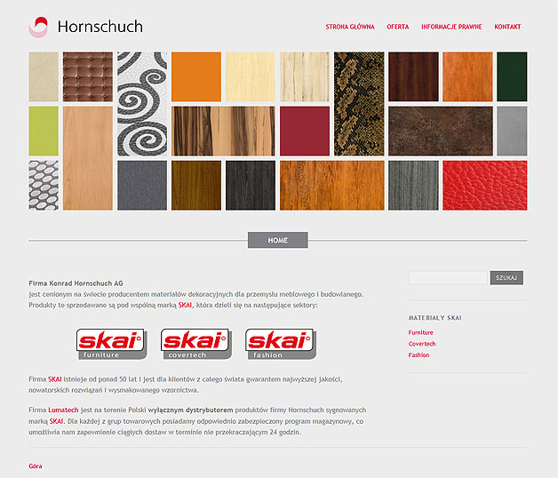 strona www Hornschuch Polska - Adobe Photoshop, WordPress
