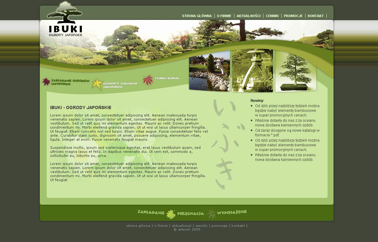 strona www ibuki - Adobe Photoshop, php