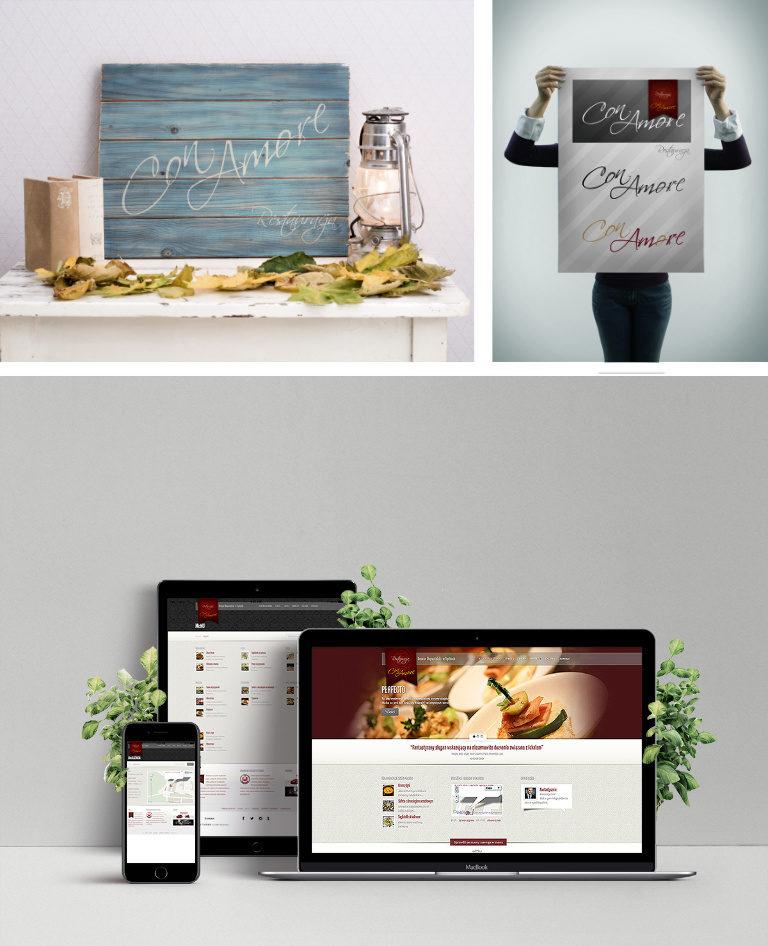 Projekty dla restauracji Con Amore - Adobe Photoshop, Adobe Illustrator