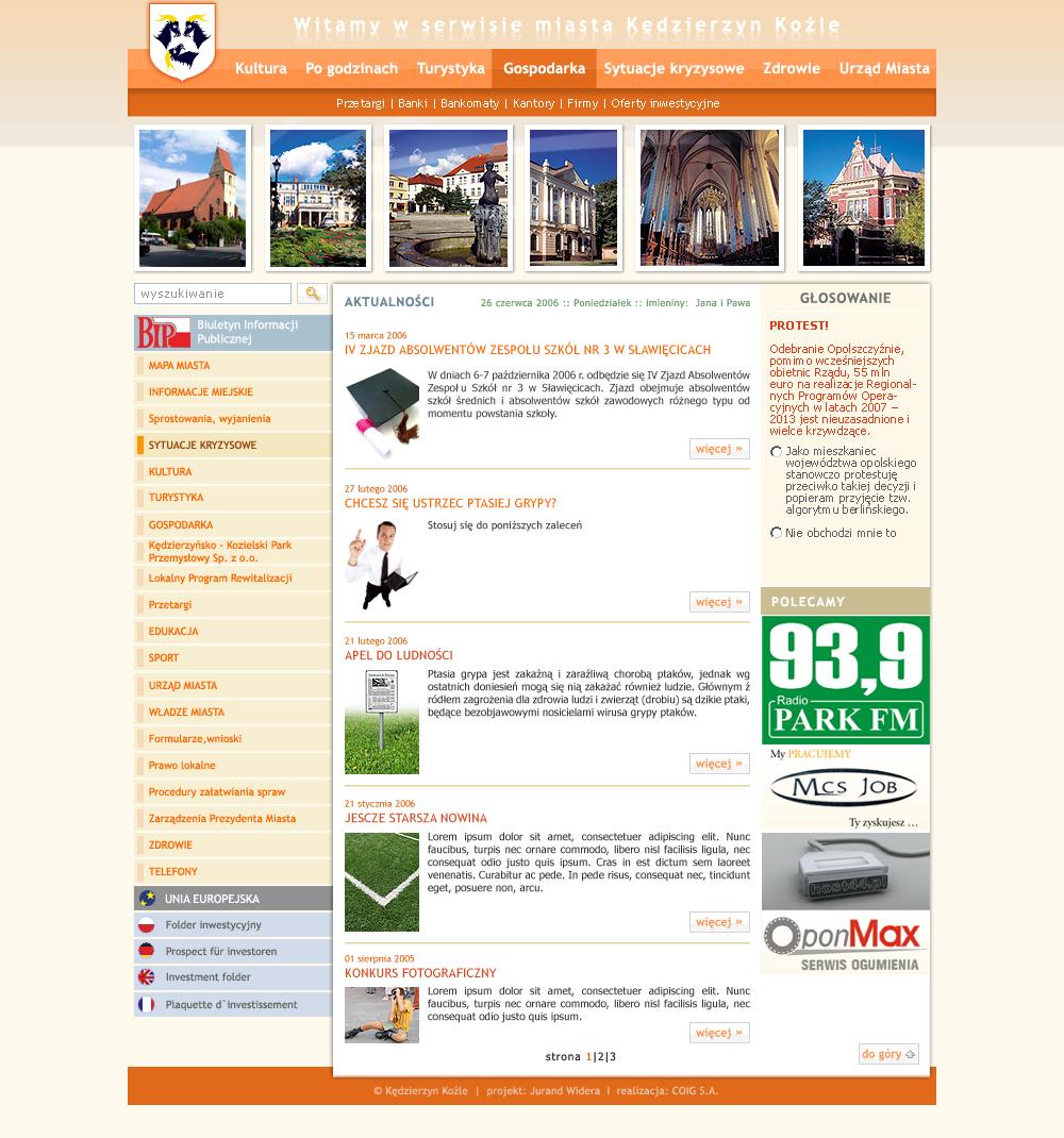 strona www Kędzierzyn Koźle - Adobe Photoshop, html