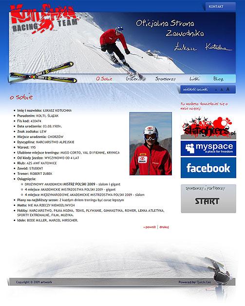 strona www Kotuchna Racing Team - Adobe Photoshop, Quick CMS