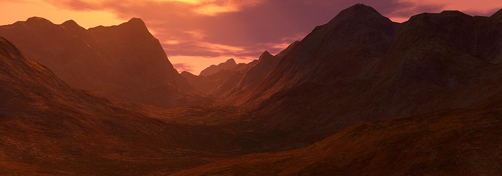 góry o zachodzie słońca - Terragen
