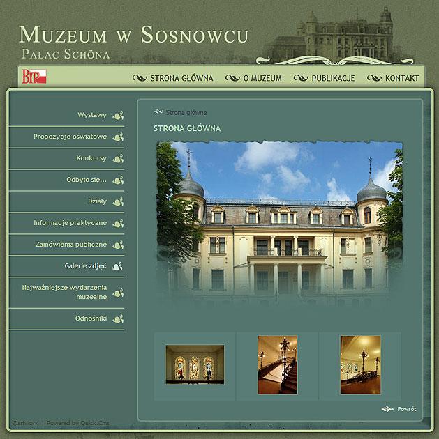 strona www Muzeum w Sosnowcu - Adobe Photoshop, Quick CMS