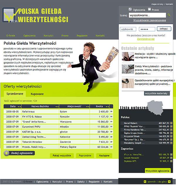 strona www Polska Giełda Wierzytelności - Adobe Photoshop, php