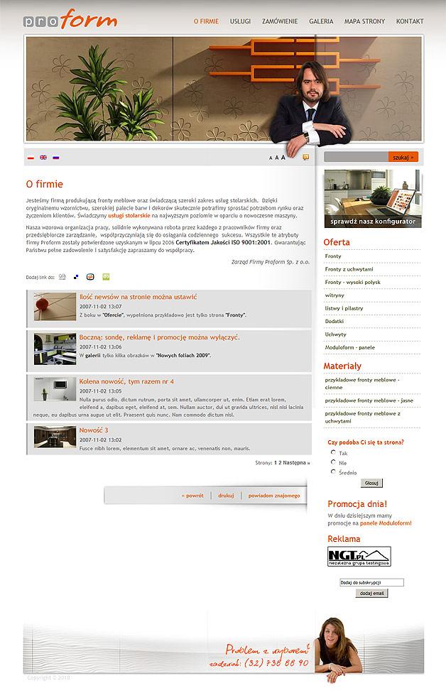 projekt strony www Proform - Adobe Photoshop