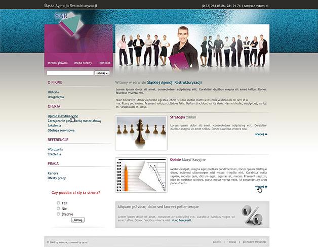 strona www Śląska Agencja Restrukturyzacji - Adobe Photoshop, Quick CMS