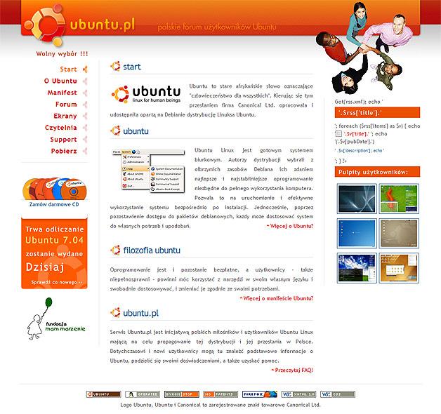 strona www na konkurs ubuntu.pl - Adobe Photoshop, html