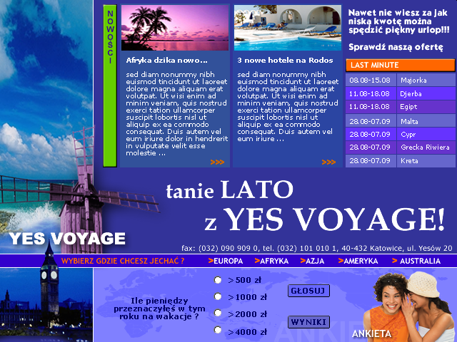 strona www Yes Voyage - Adobe Photoshop, html