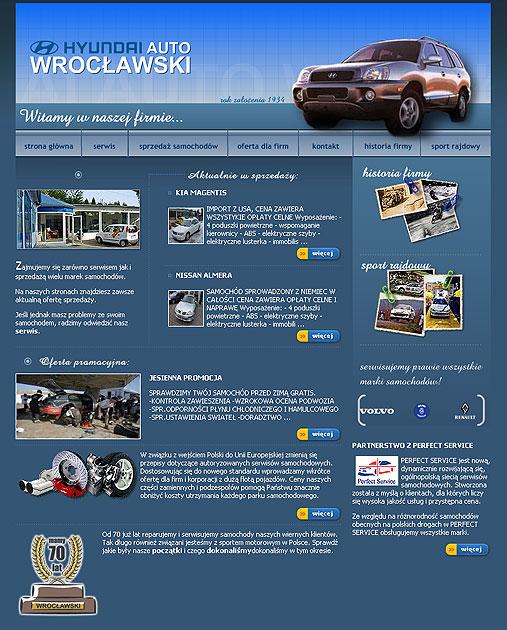 strona www Auto Wrocławski - Adobe Photoshop, php