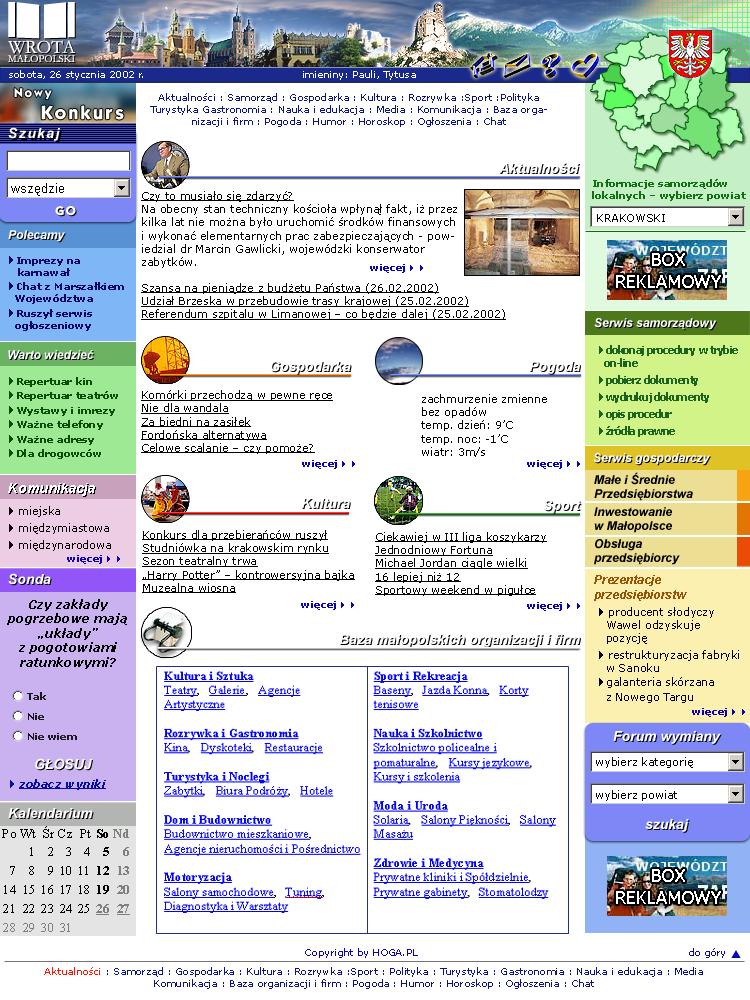 strona www Wrota Małopolski - Adobe Photoshop